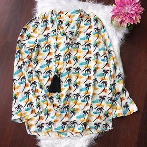 Cooper & Ella palm tree print blouse size M